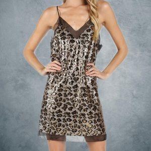 Wild Honey leopard sequin slip dress
